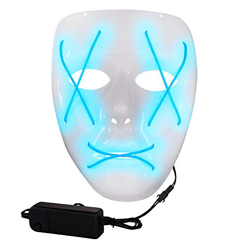 LED Light-Up Blue Purge Mask Halloween Costume Party - Glow in The Dark