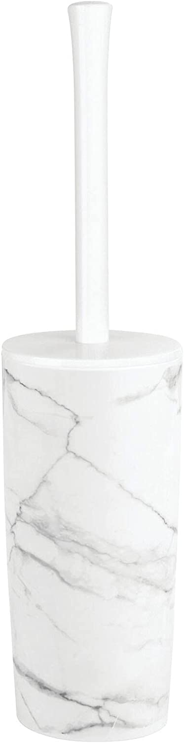 mDesign Slim Compact Modern Plastic Toilet Bowl Brush and Holder for Bathroom Storage - Sturdy, Deep Cleaning - Marble Print