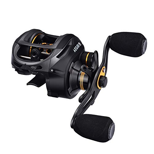 FISHINGSIR Aegir Baitcasting Fishing Reel - 17.6 Lb Carbon Fiber Drag, 9+1BB Dual Brakes Low Profile Baitcasting Reels
