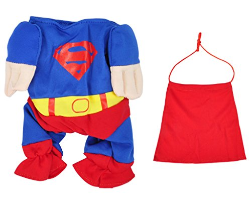 TAUT Pet Dog Cat Superhero Costume Superman Clothing, Blue/Red, XS