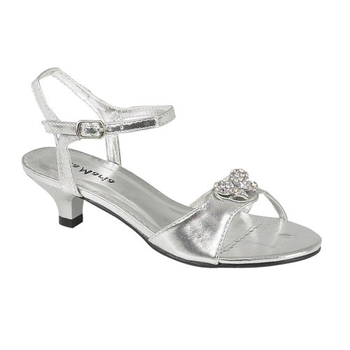 Onlineshoe Mädchen Kids Infant Low Heel Hochzeit Brautjungfer Partei Diamante Schuhe Sandalen Silber