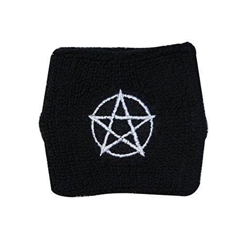 (White Pentagram Wristband Pentacle Symbol Metal Fan Wicca Worship Hand Sweatband)