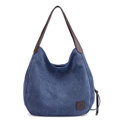 Handbag Capacidad Hombro Capas Asas Las de de A Lona de Bolsa Ocasional de Bolso Hombro 8 Bolso múltiples de Gran Mujeres de Color rqESa4rw