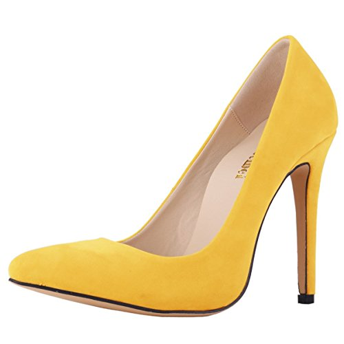 Heels High Pointed Classic Yellow Faux Women's Toe Velvet Zbeibei Slip Pumps On Party qAwXRY
