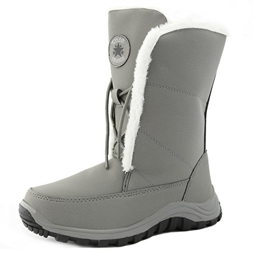 DailyShoes Womens Warm Polar Mid Calf Ankle Snow Boots Space Grey jkKAoJU