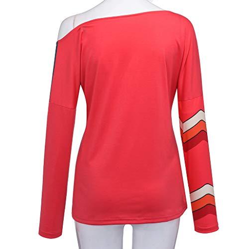 T Inverno Camicetta rosso shirt E Riou in Autunno 6 Lunga O Color Donna Casual Moda Collo Patchwork Top Manica Regolabile Block Poliestere UCwrPU