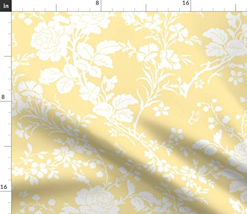 (White Roses Fabric - Bridal Suite Buttercup Floral Spring Toile Upholstery Yellow Flowers Silhouette Print on Fabric by The Yard - Eco Canvas for Durable Upholstery Home Decor Accessories)