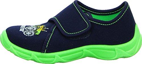 Sneakers Robert Hausschuh Kinderschuh Jungen Textil Rutschhemmende Laufsohle Farbe: Blau/ Neon Grün