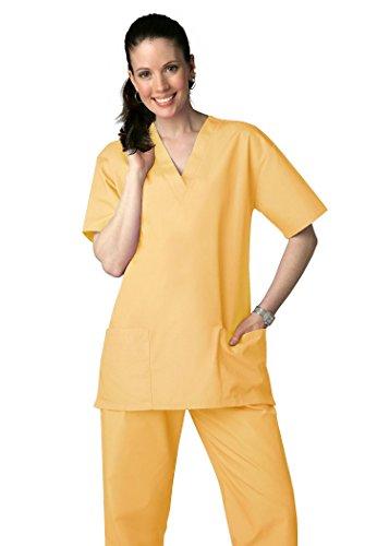 Adar Uniforms Discounted Unisex V-neckline Drawstring Pants Scrub Set - Roomy fit - 701 - Honey - XXS