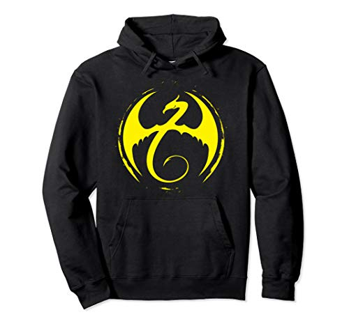 Marvel Iron Fist Classic Yellow Dragon Logo Graphic Hoodie