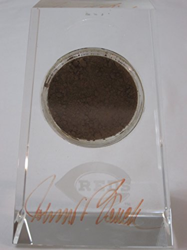 (Johnny Bench authentic hand signed Cincinnati Reds crystal paperweight with game used dirt - MLB & Steiner Sports Authenticated)
