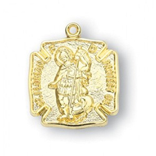 Saint Florian Gold Overlay Sterling Silver Medal with 18