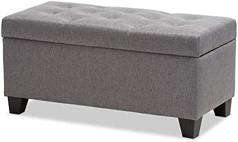 Baxton Studio Michaela Modern and Contemporary Grey Fabric Upholstered Storage Ottoman
