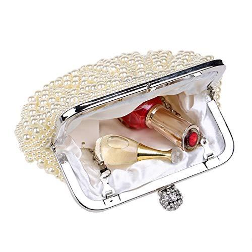 Mano Mallty donna White02 Elegante Evening Beige Pearl femminile Borsa Sferica Decorazione e colore splendente Banquet delicata UFAwPwxWqR