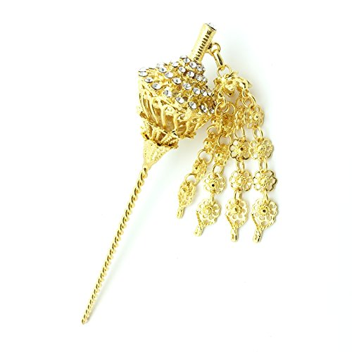 [Siwalai Thai Traditional Gold Plated Clear Crystals Hair Pin 6 Inches] (Thai Dance Costume)