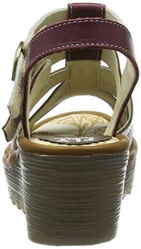 FLY London Sandalias de cuña Multicolor - Mehrfarbig (DK.GREY/CAMEL/MAGENTA/OFFWHITE 013)