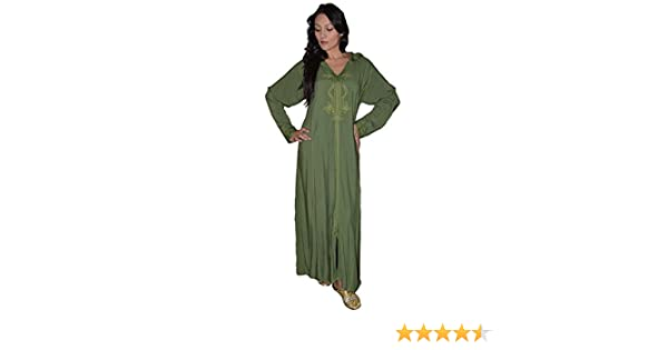 90937128af74fb Moroccan Caftans Women Hand Made Djellaba Embroidered Size Extra Large Green