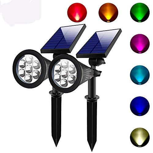 Appreciis 2 Sets 7 LED Solar Spotlights Outdoor Solar Lights