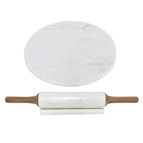Benzara Marble Board with Rolling Pin Kitchenware
