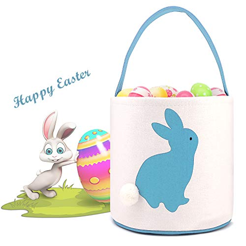 Easter Basket For Boys Bunny Ear Buckets For Boy Easter Party Bag For Kids Candy Bunny Ear Bag Easter Egg Basket Bucket Bunny Ear Basket Bucket For Easter Party (Bucket-Light blue)]()