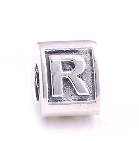 Plata de ley 925, pulsera con letra R, para Pandora, Biagi, Chamilia y Trollbeads: Amazon.es: Bebé