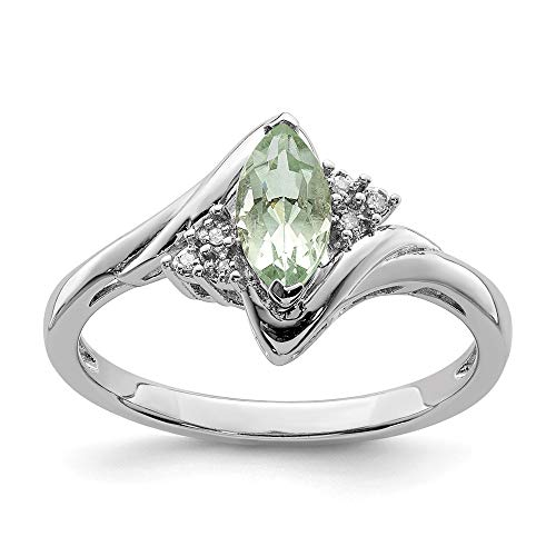 - 925 Sterling Silver Diamond Green Quartz Band Ring Size 9.00 Gemstone Fine Jewelry Gifts For Women For Her