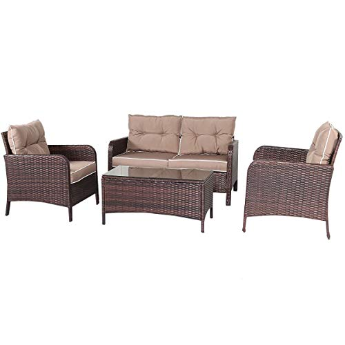 Art Deco Sectional Sofa - Shining Outdoor Patio Rattan Wicker Furniture Set Sofa Loveseat with Cushions 4 PCS