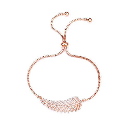 SHINCO Vintage CZ Diamond Feather Charm Adjustable Bracelets Rose Gold Plated Chain Women Girls Jewelry, Gifts for Thanksgiving Day, Christmas Year