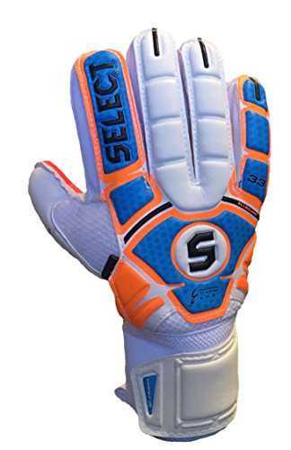 Select Sport America 33 All Round Goalkeeper Gloves with Finger Protection, Orange/Blue, Size 9