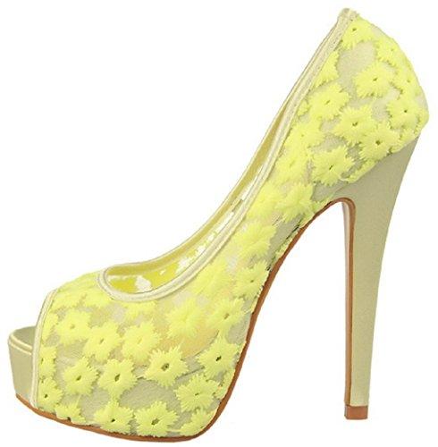 Yellow Toe Pumps Women's Wedding Mesh Peep HooH 3 Flower 1387 zxq4wOWa