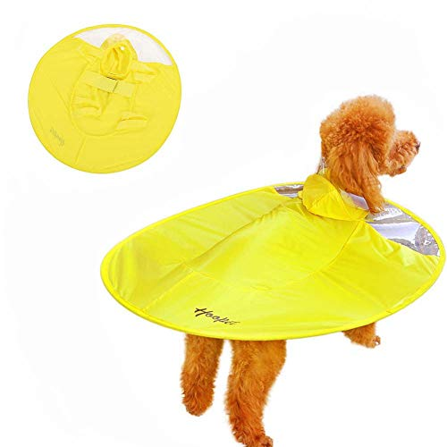 Moorfowl Pet Dog Raincoat Waterproof Adjustable Dog Rain Clothes Transparent EVA Flying Saucer Raincoat Reflective Pet Supplies for Small Medium Dogs Cats, Yellow -