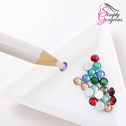 2 X selector de lápiz de cera cristal de diamante de imitación joya para el arte del clavo