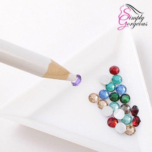 2 X selector de l/ápiz de cera cristal de diamante de imitaci/ón joya para el arte del clavo