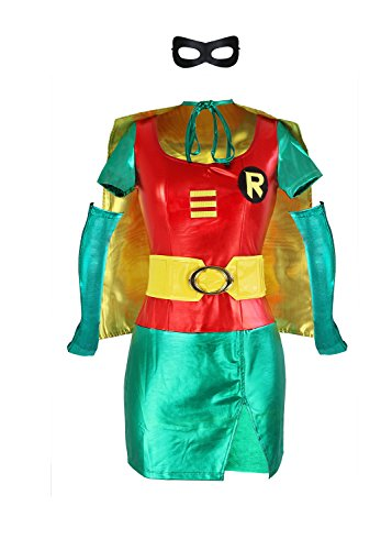 Ecilu Women's Adult Sexy Robin Super Hero Plus Size Costume Red-Green X-Large ()