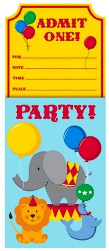 8-Count Party Invitations, Circus Time ()