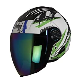 Steelbird Hemet Sba-3, Canvas Matt (White and Green) with Rainbow Visor 600 mm (Medium)