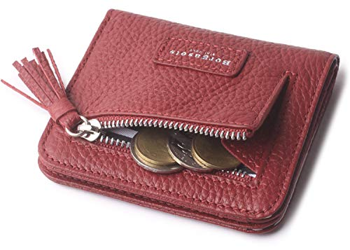 Wallets for Women Red Wallet Small Cute Bifold Mini Zip Coin Purse Leather Minimalist ID RFID Credit Card Holder Case With Tassel