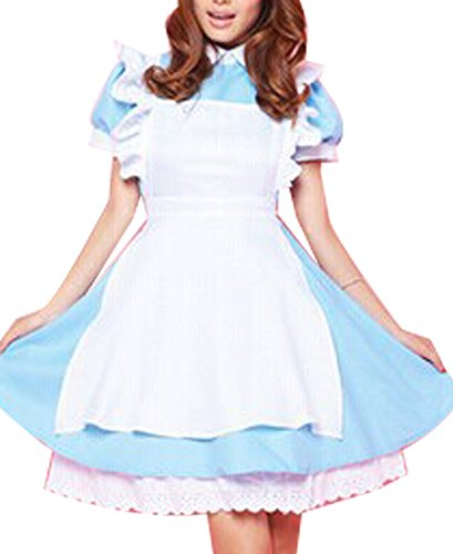 [Marshel Japanese Cosplay Apron Maid Fancy Dress Costume Blue X-Large AX-JP-014-BL-XL] (Rikku Cosplay Costume For Sale)