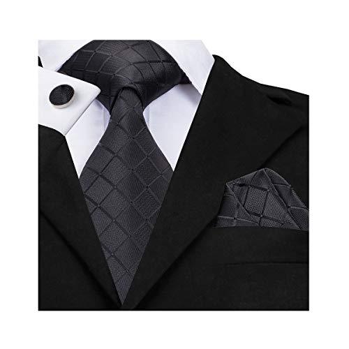 Cufflinks Designer - Barry.Wang Solid Black Ties for Men Set Handkerchief Cuffinks Formal