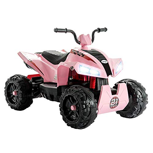 Uenjoy ATV for Kids 4 Wheeler Quad 12V Battery Power Electric Ride On Car w/ Wheels Suspension,2 Speed,LED Lights,Built-in Horn,Treaded Tires,Engine Sounds for - Wheeler Four Battery Volt 12