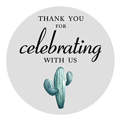 MAGJUCHE Prickly Cactus Thank You Stickers, Fiesta Wedding Bridal Baby Shower Birthday Party Sticker Labels for Favors, Decorations, 2 Inch Round, 40-Pack ()