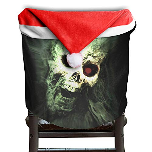 EDYE Halloween Scream Skull Human Remains Death Skeleton Christmas Xmas Themed Dinning Seat Chair Cap Hat Covers Ornaments for Backers Slipcovers Wraps Coverings Decorations Protector Set]()