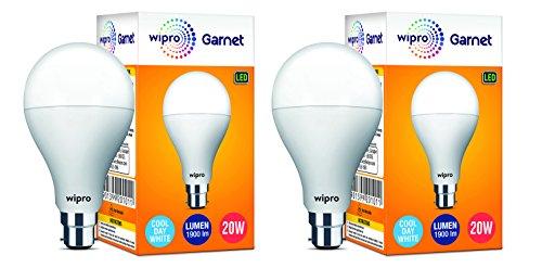 wipro Garnet Base B22 20-Watt LED Bulb (White) – Pack of 2
