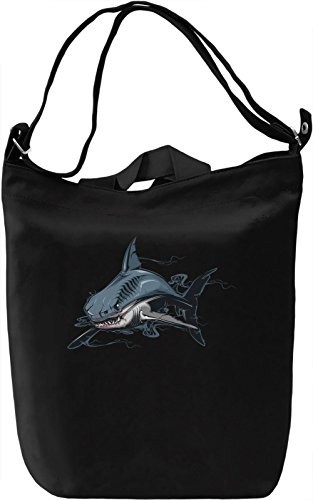 Angry shark Borsa Giornaliera Canvas Canvas Day Bag| 100% Premium Cotton Canvas| DTG Printing|