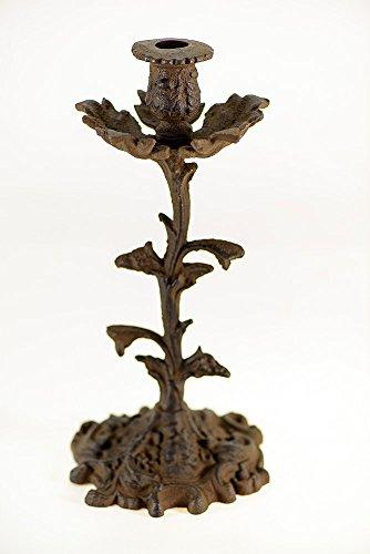 (Cast Iron CandleStick Candle Holder Grape Leaf Art Nouveau)