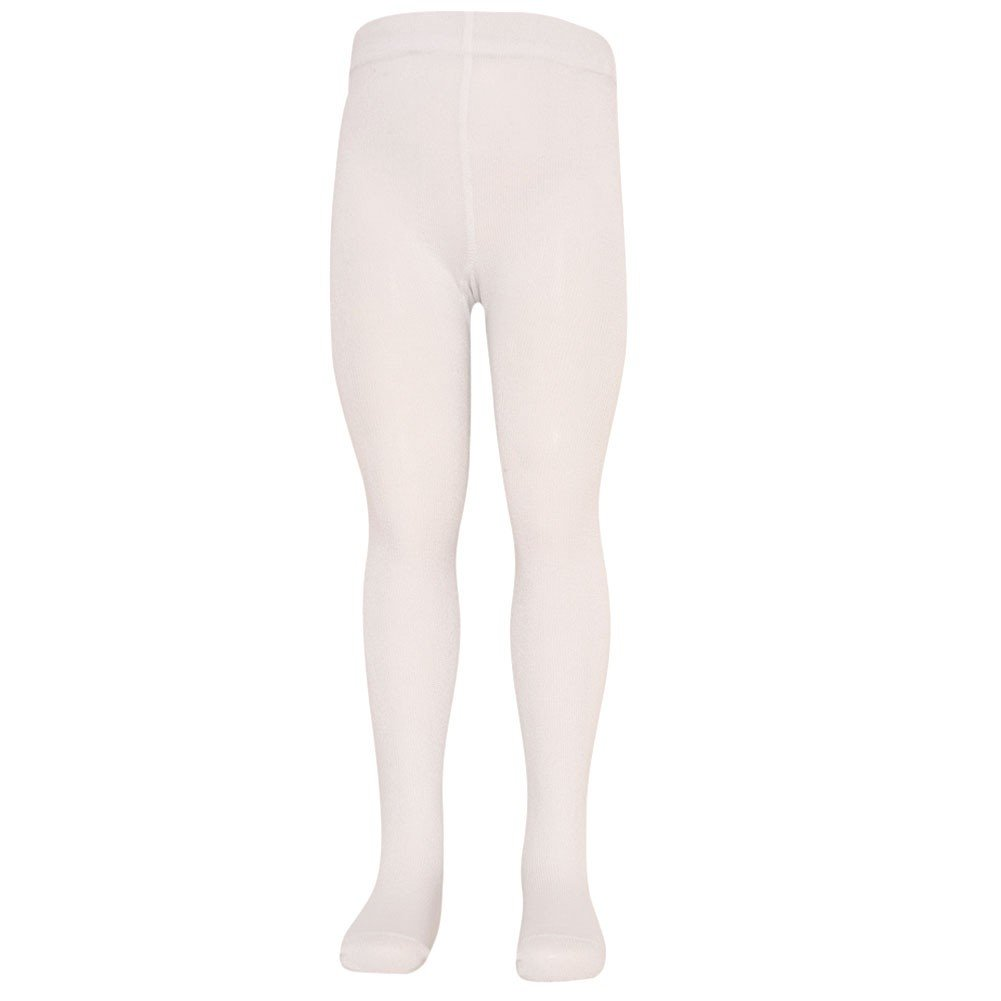 Mopas Big Girls White Opaque High Waisted Stretchy Footed Tights 7-14