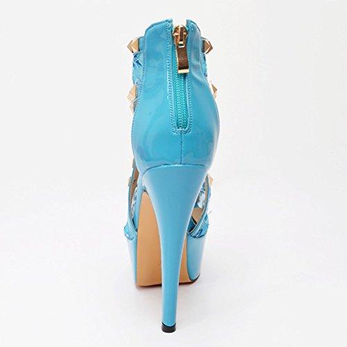 Borchie Rivetti Handmade Women Kolnoo Blu alti Tacchi Shoes Décolleté 14 5cm Dress spillo Party a 5Xww1qAxI