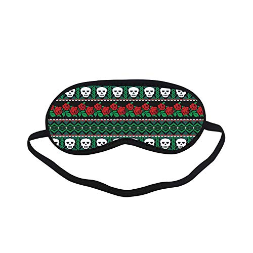 - Skulls Decorations Fashion Black Printed Sleep Mask,Mexican Folk Art Skulls and Roses Knitted Pattern for Bedroom,7.1