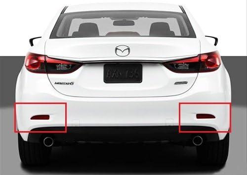 2x Red Lens Rear Bumper Reflector LED Fog Tail Stop Brake Light DRL For Mazda6 Atenza 2013-up Mazda3 Saloon