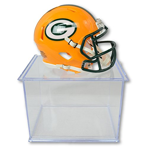 Official National Football League Fan Shop Authentic NFL Mini Speed Helmet and Display Case Bundle. Great Sports Fan Collectible - Office, Home or Man Cave (Green Bay Packers)